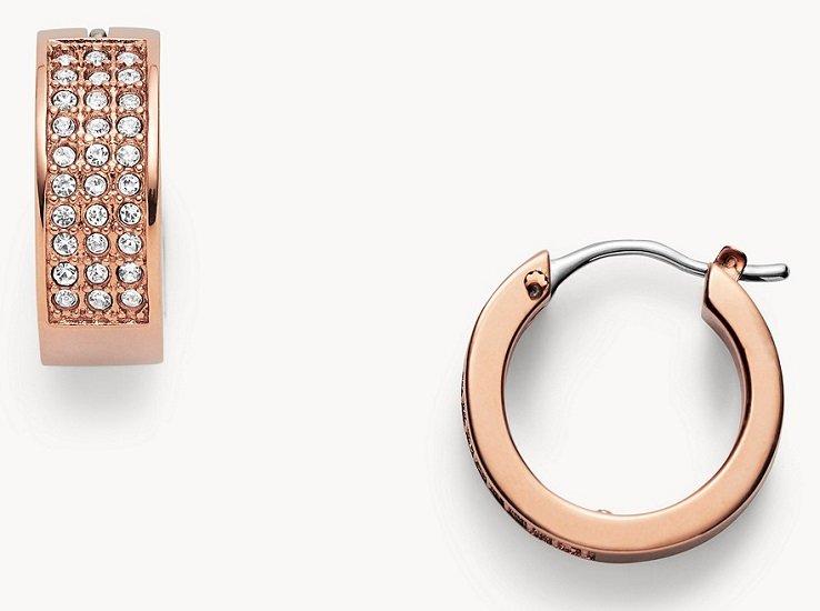 Fossil Damen Ohrringe Pavé Hoops für 25€ inkl. Versand (statt 30€)