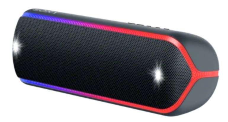 Sony SRS-XB32 Bluetooth Lautsprecher (Wasserfest, NFC, farbige Lichtleiste) für 89€