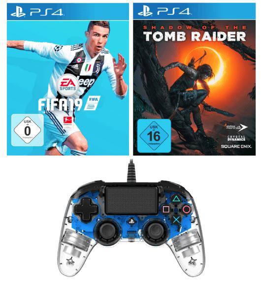 PS4 Nacon Controller+ FIFA 19+ Shadow of the Tomb Raider für 89€  (statt 130€)