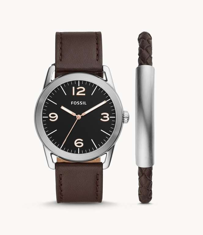 Fossil Set Herrenuhr Ledger & Armband (BQ2465SET) für 48,30€ inkl. Versand (statt 119€)