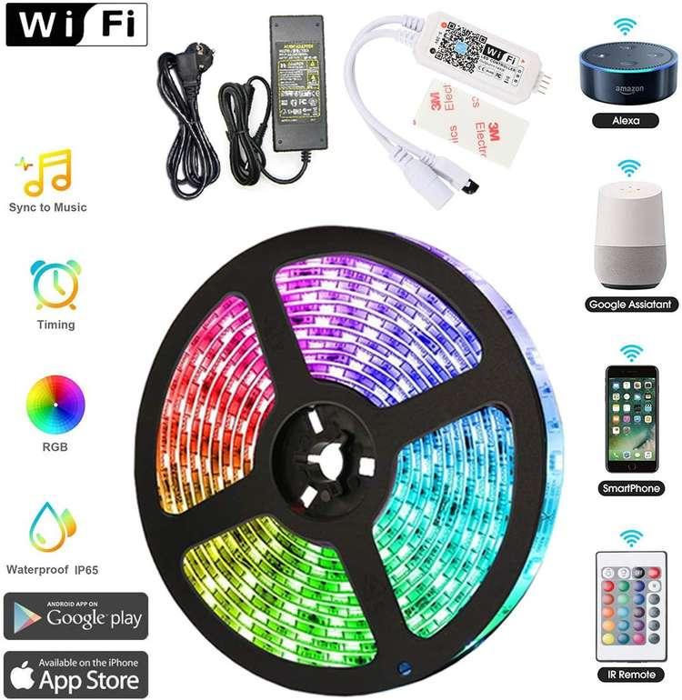 Hengda LED Streifen mit 150 LEDs (5m, Fernbedienung, IP65, Alexa/Google Home kompatibel) für 18,19€