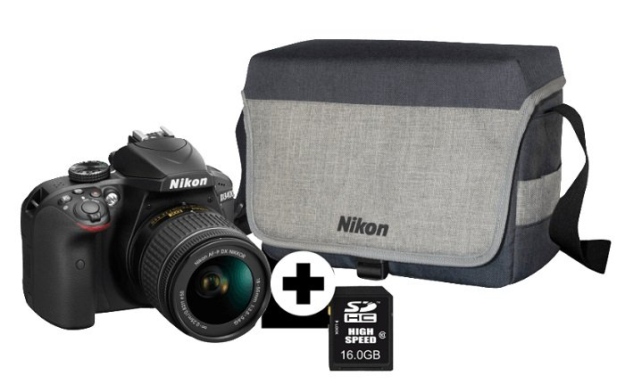 9 verfügbar! Nikon D3400 (Tasche + SD) +AF-P 18-55 Objektiv zu 333€ (statt 430€)