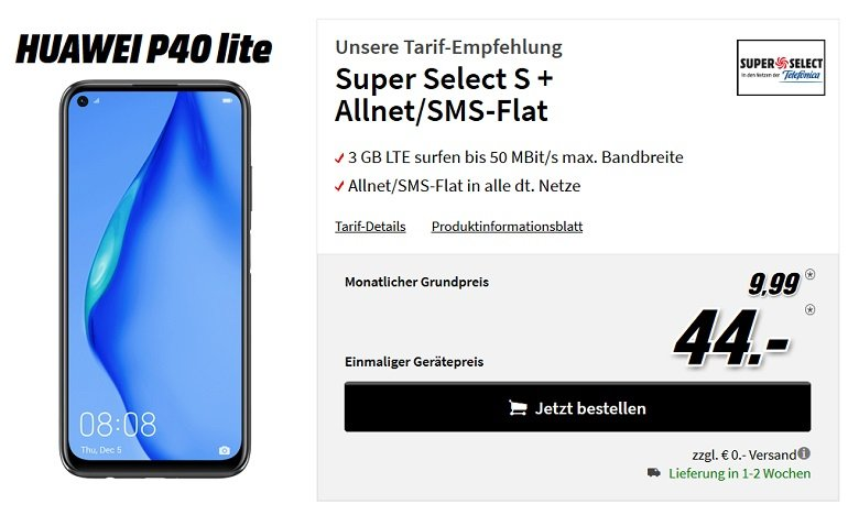 Huawei P40 lite inkl. o2 Super Select S Allnet-Flat mit 3GB LTE