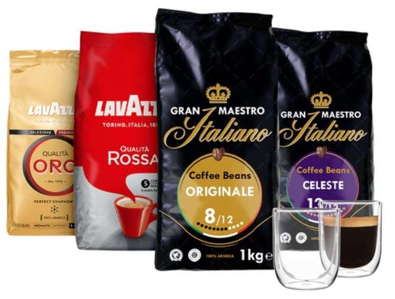 4kg Gran Maestro Italiano Kaffeebohnen Probierpaket + 2 luxuriöse doppelwandige Kaffeegläser für 59,99€