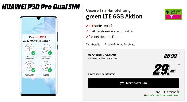 Huwei P30 Pro Dual SIM Mobilcom Debitel green Allnet-Flat 6GB