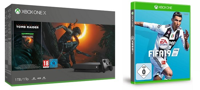 Microsoft Xbox One X 1TB - Shadow of the Tomb + FIFA 19 für 435,94€ (statt 512€)