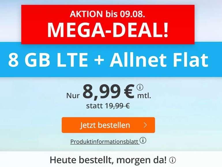 Sim.de o2 Allnet-Flat mit 8GB LTE Datenvolumen (bis zu 50 Mbit/s) für 8,99€ mtl. (ohne Vertragslaufzeit)
