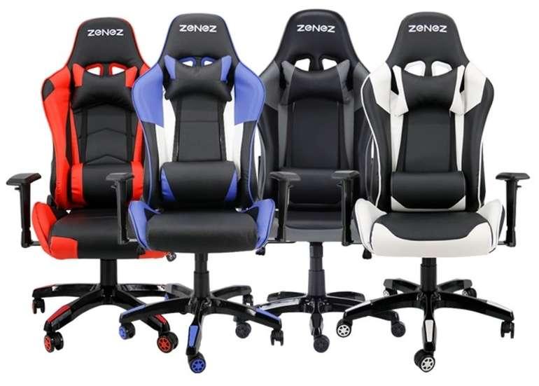 Zenez Racing Style Gaming Stuhl (Edelstahlrahmen; Kunstleder; Liegefunktion) für je 108,99€ (statt 164€)