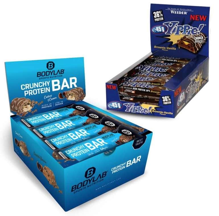 12er Pack Weider Yippie! Bar + 12er Pack Bodylab24 Crunchy Protein Bar Riegel für 25€ (statt 39€)