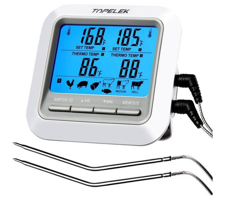 TopElek Grillthermometer mit 2 Sonden für 9,99€ inkl. Versand (Prime)