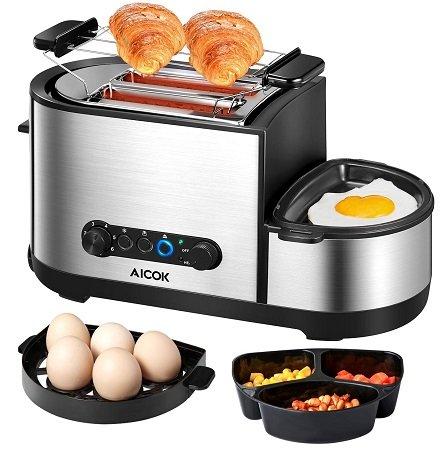 Aicok 3 in 1 Toaster mit Eierkocher und elektrischer Pfanne für 33,49€ inkl. VSK