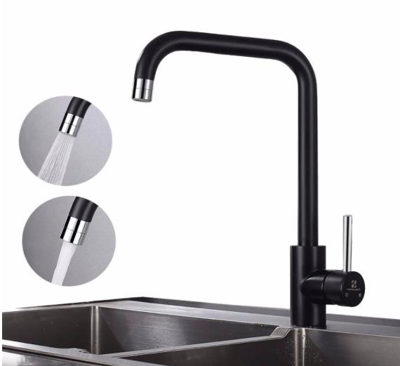 Homelody Küchen Wasserhahn in schwarz mit 2 Strahlen für 27,99€ (statt 53€)