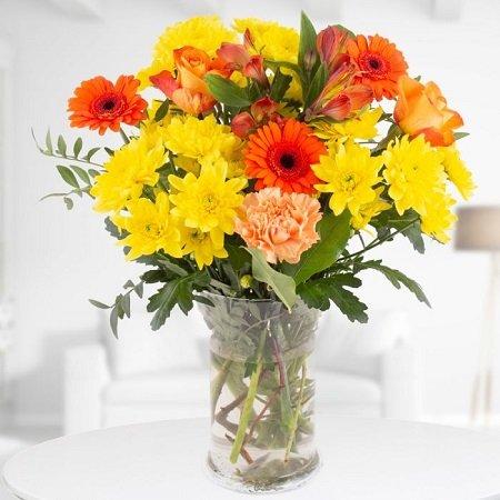 Blumenstrauß Morgenröte mit Chrysanthemen, Nelken und Rosen für 19,90€