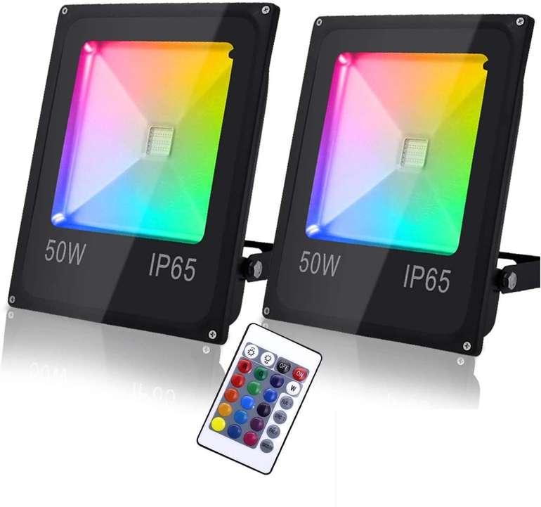 Verschiedene Hengda RGB Strahler mit Fernbedienung (2 Stück) z.B 50W für 26,45€