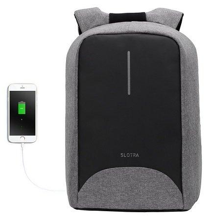 Slotra - Diebstahlsicherer 15,6 Zoll Laptop Rucksack mit USB-Anschluss 23,99€