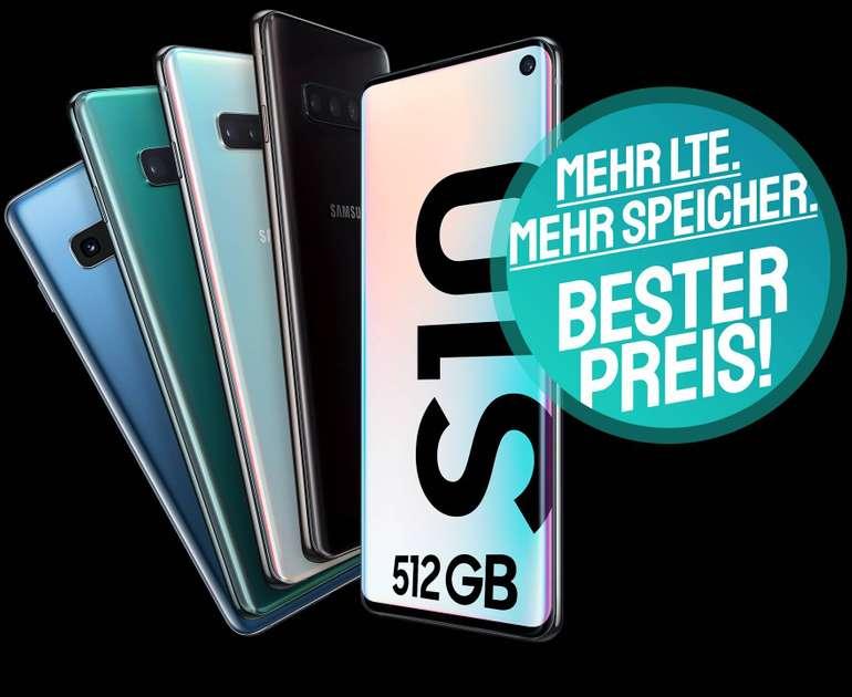 Samsung Galaxy S10 512GB + o2 Free M Boost  (20GB LTE, Allnet, SMS-Flat) für 34,99€ mtl.