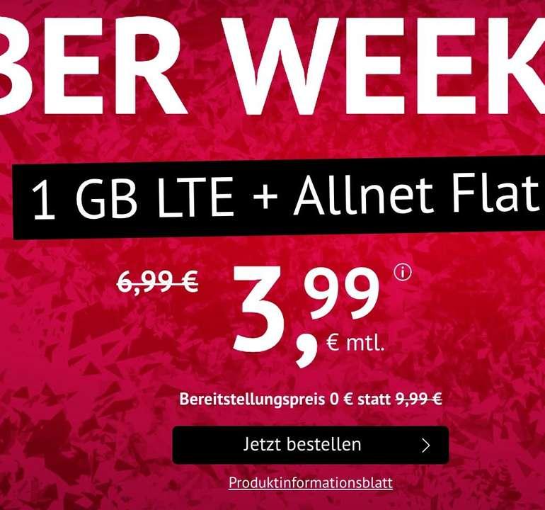 o2 Tarif mit 1GB LTE, Allnet- & SMS-Flat für 3,99€ mtl. (kein Anschlusspreis, mtl. kündbar)