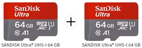 2 x SanDisk Ultra UHS-I, Micro-SDXC Speicherkarte, 64 GB, 100 MB/s für 18€ inkl. Versand (statt 23€)