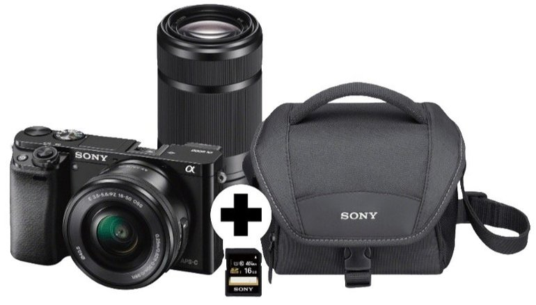 Sony Alpha 6000 Systemkamera mit 24MP + 2 Objektiven + Zubehör für 633,99€