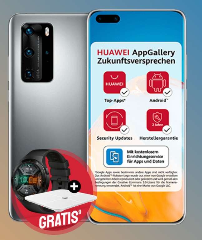 Huawei P40 Pro 256 GB + Watch GT2e + Waage (49€) + O2 Free M Boost Allnet Flat mit 40 GB LTE für 34,99€mtl.