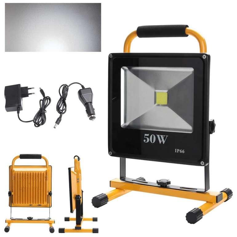 Vingo - 50W LED Fluter mit 6.000 Lumen & Akku für 27,99€ inkl. VSK