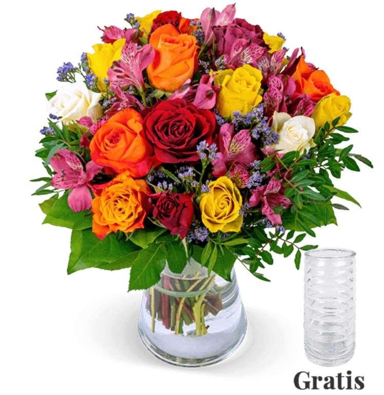 Rosenstrauß Farbtraum + Vase für 27,98€ inkl. Versand (statt 36€)