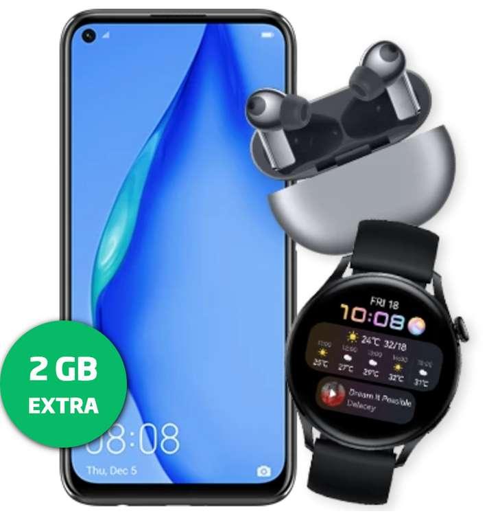 Huawei P40 Lite + Watch 3 LTE & FreeBuds Pro (25€) + Blau Allnet Plus mit 15 GB für 20,99€ mtl.