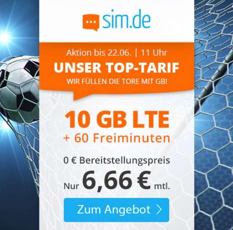 Sim.de: o2 Tarif mit 10GB LTE + 60 Freiminuten (VoLTE, WLAN Call, 3 Monate Kündigungsfrist) für 6,66€ mtl.