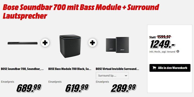 Bose Soundbar 700 mit Bass Module + Surround Lautsprecher