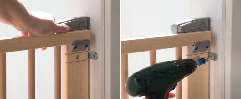 Geuther 2734 Schwenk-Türschutzgitter 93,5 - 133cm natur oder weiß 2
