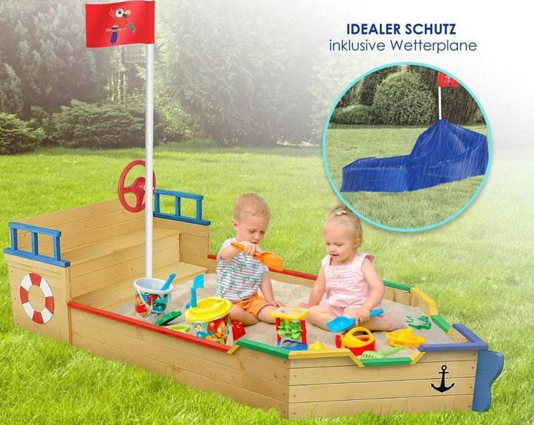 """Kidiz """"Ahoi Piratenschiff"""" Sandkasten aus Holz für 89,70€ inkl. Versand (statt 110€)"""