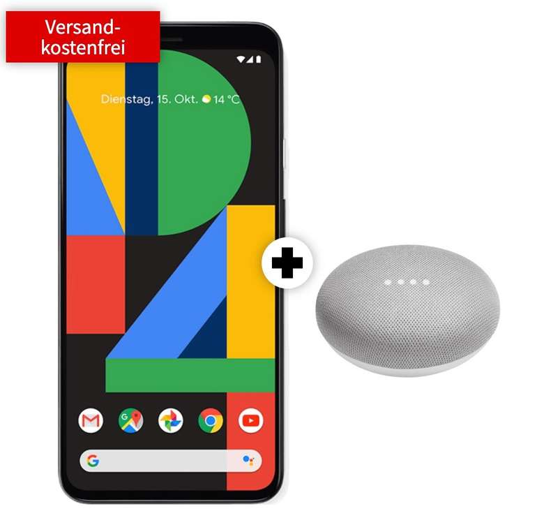 Google Pixel 4 + Google Home Mini (49€) + Telekom Allnet-Flat mit 8GB LTE für 31,99€ mtl.