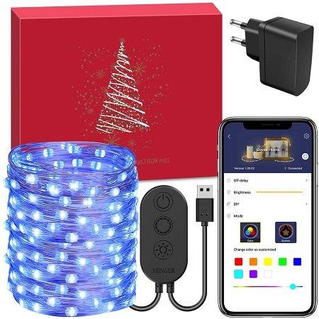 Minger - 10M RGB Lichterkette mit 100 LEDs mit APP-Anbindung für 9,99€ (Prime)