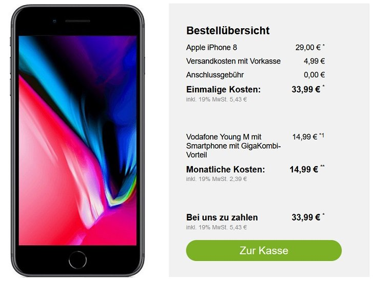 Apple iPhone 8 Vodafone Young M Allnet-Flat 11GB LTE