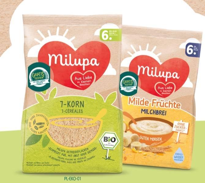 Milupa Milch- und Getreidebrei gratis testen dank Geld-zurück-Garantie (GZG)