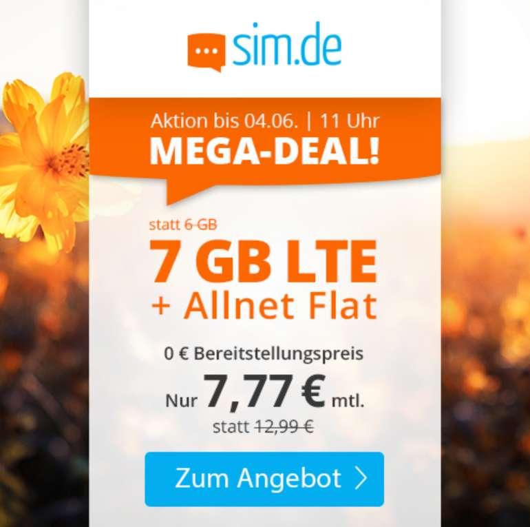Sim.de o2 Tarif mit 7GB LTE Datenvolumen für 7,77€ mtl. (drei monatlich kündbar)