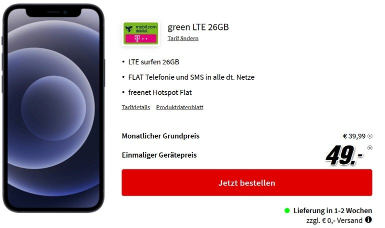 Apple iPhone 12 mini Telekom green Allnet- & SMS-Flat mit 26GB LTE