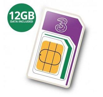 3 PAYG Trio Prepaid Karte mit 12GB LTE Datenvolumen fürs Ausland für 30,80€