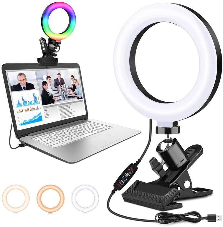 AsperX Ringlicht mit RGB Beleuchtung (USB-Anschluss) für 5,99€ inkl. Prime Versand (statt 12€)
