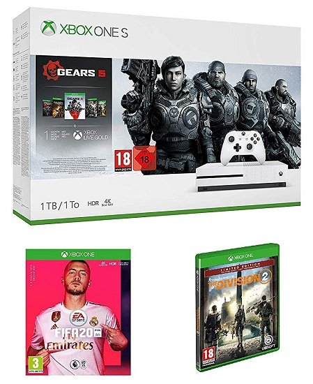 Xbox One S 1TB Gears 5 Bundle + Tom Clancy's The Division 2 Limited Edition + FIFA 20 für 233,96€