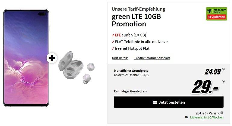 Samsung Galaxy S10+ Samsung Galaxy Buds Vodafone green Allnet-Flat 10GB LTE 2