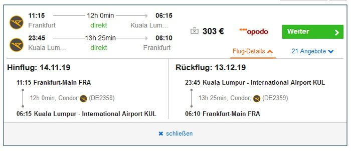 Malaysia Hin- und Rückflug von Frankfurt nach Kuala Lumpur 2