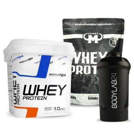 1kg Bodylab24 Whey Protein (freie Auswahl) + 1kg Mammut Whey Protein Schoko + Shaker für 19,99€