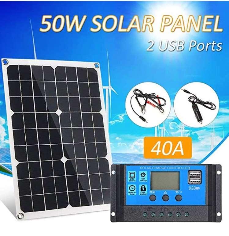 Ltteny 50W DC 5V / 18V Dual Output Solarpanel mit 2 USB-Anschlüssen und IP65-Schutz für 42,99€ (statt 86€)