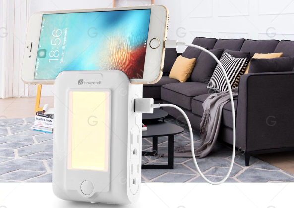 Houzetek Wandhalterung: USB-Ladegerät und LED-Sensor-Nachtlicht für 8,08€