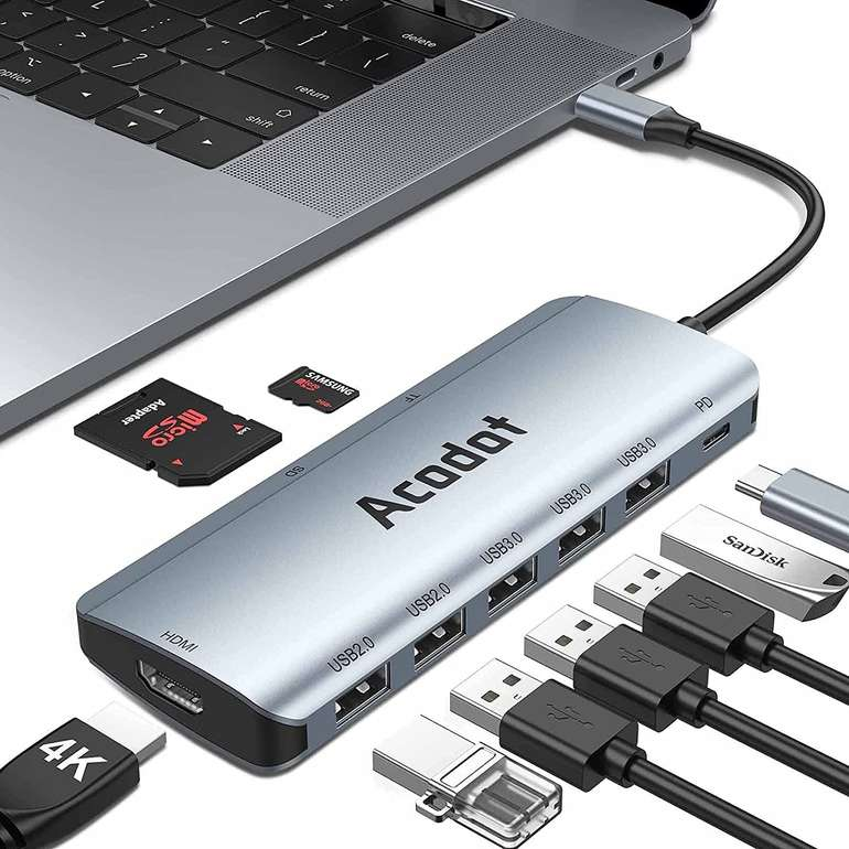 Acodot 9-in-1 USB C Hub (MacBook/iPad kompatibel) für 18,06€ inkl. Prime Versand (statt 28€)