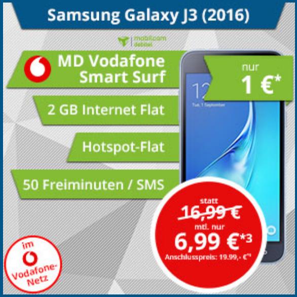 Samsung Galaxy J3 (2016) + Smart Surf D2 (2GB, 50 Min, 50 SMS) für 6,99€ mtl.