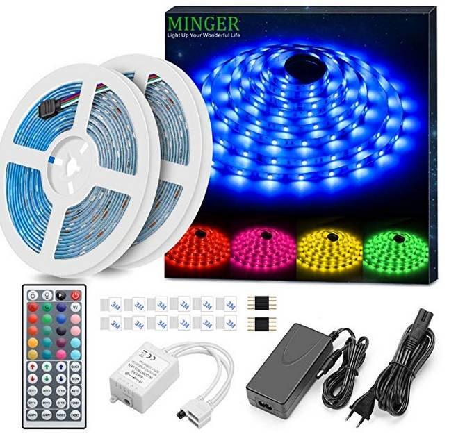 Minger LED Strip, Wasserdicht, 10M, RGB mit 300 LEDs für 14,99€ inkl. Prime