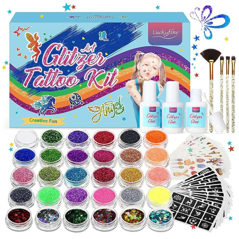 Luckyfine Glitzer Tattoo Set mit 24 Tuben für 11,99€ inkl. Prime Versand (statt 20€)