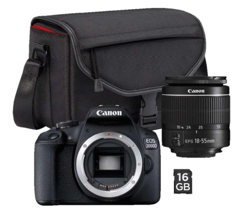 Canon EOS 2000D Spiegelreflexkamera + Tasche + 16GB Speicherkarte und 18-55 mm Objektiv für 249€